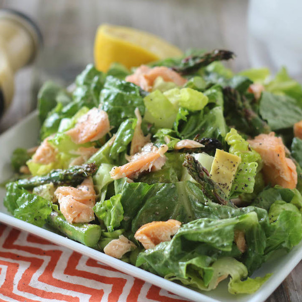 Broiled Salmon and Asparagus Caesar Salad