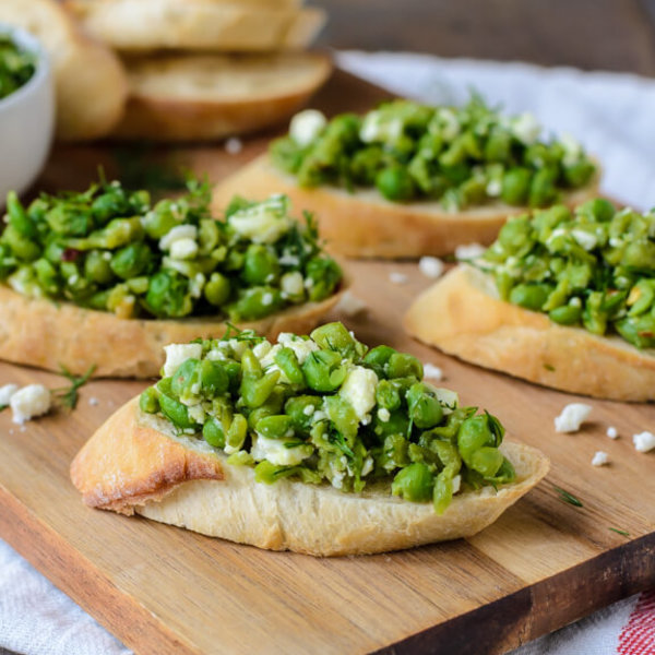 Spring Pea Crostini with Feta and Dill