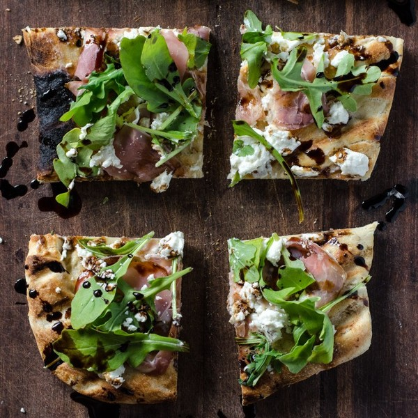Grilled Flatbread with Prosciutto, Arugula, Goat Cheese & Balsamic