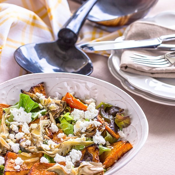 Roasted Butternut Squash, Artichoke & Goats Cheese Salad