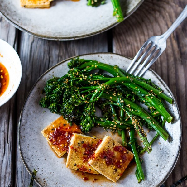 Chili garlic tofu with sesame broccolini