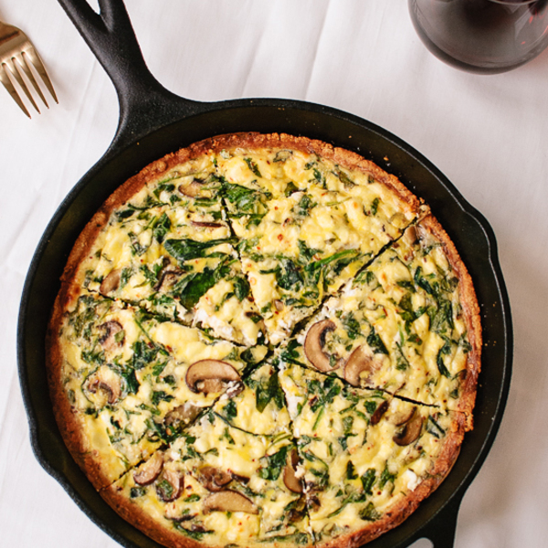 Arugula and Cremini Quiche with Gluten-Free Almond Meal Crust