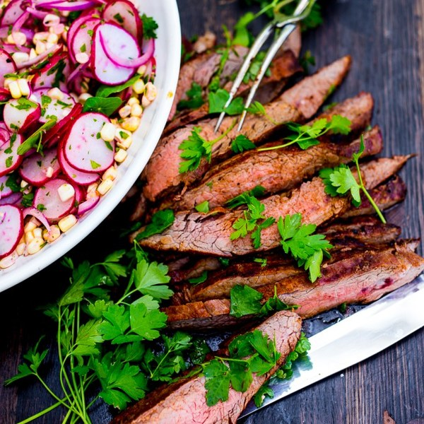 Grilled Flank Salad with Corn Radish Salad