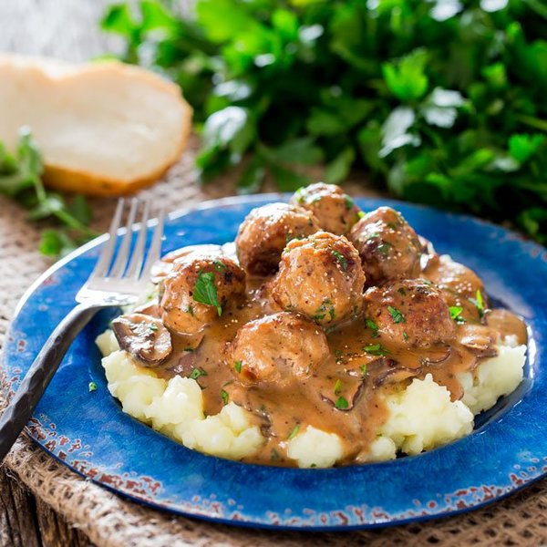 Salisbury Steak Meatballs with Gravy and Mashed Potatoes