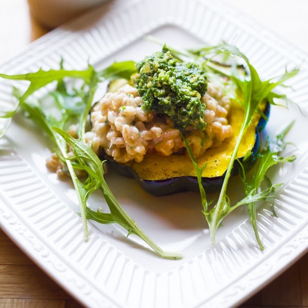 Acorn Squash w/ Farro Risotto and Radish Top Pesto