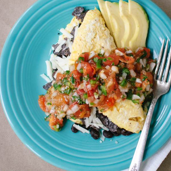 Tex-Mex Omelet with Roasted Cherry Tomato Salsa
