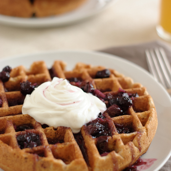 Whole Wheat Waffles with Blueberry Ginger Syrup