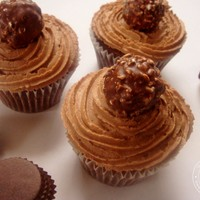 Ferrero Rocher Centred Chocolate Cupcakes with Hazelnut Buttercream Frosting