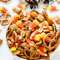 Halloween Chex Mix with Candy Corn and Salty Maple Peanuts