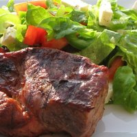 Grilled Pork Steak With Boston Lettuce Salad