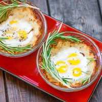 Quail Eggs in Hash Browns Nests