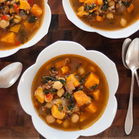 Sweet Potato, Kale and Chickpea Soup